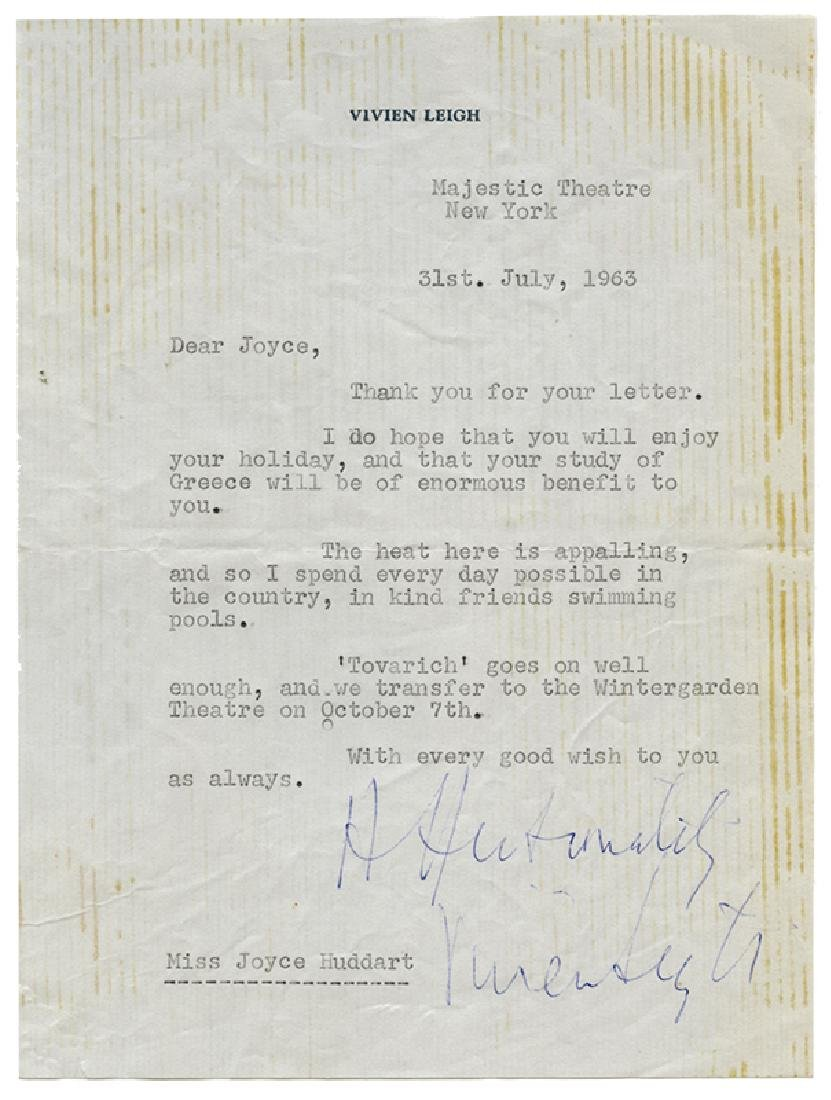 Vivien Leigh Typed Letter, Signed.