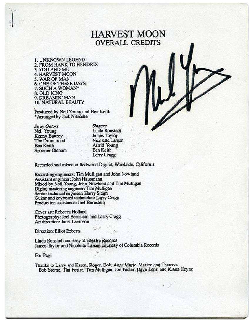 """Neil Young """"Harvest Moon"""" Signed Album Credits and"""