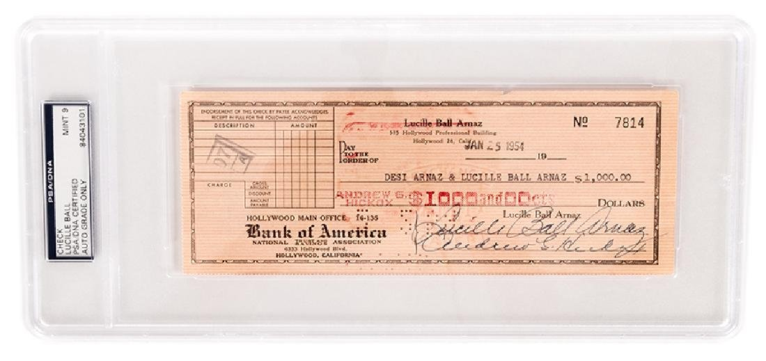Lucille Ball Signed Check.