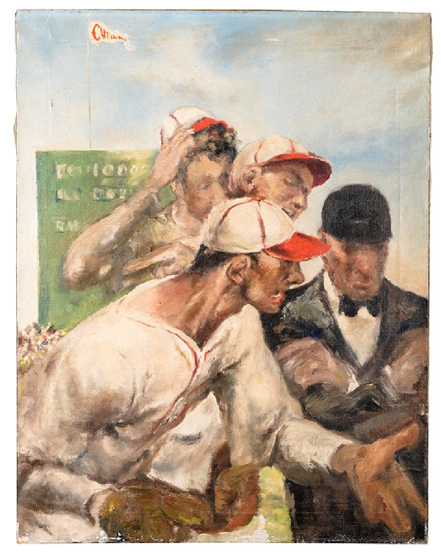 A 1937 Oil Painting of a Baseball Game.