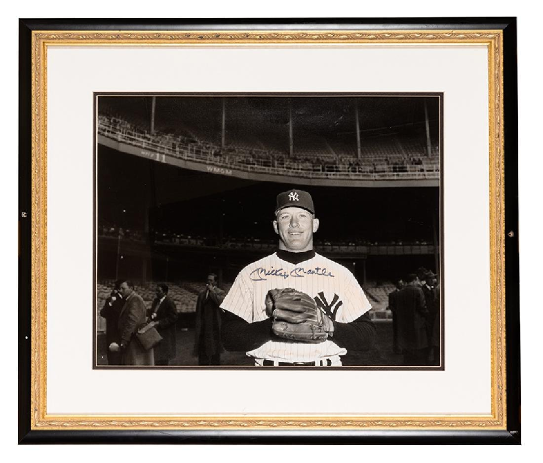 Mickey Mantle Signed Oversize Photograph.