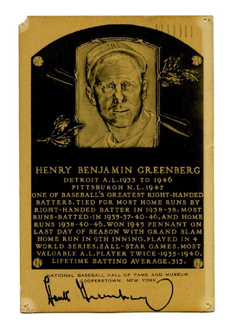 Hall of Fame plaque postcard, signed by Greenberg.