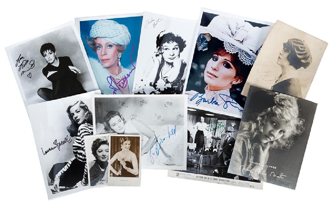 Ten film actresses' signatures on photographs, and
