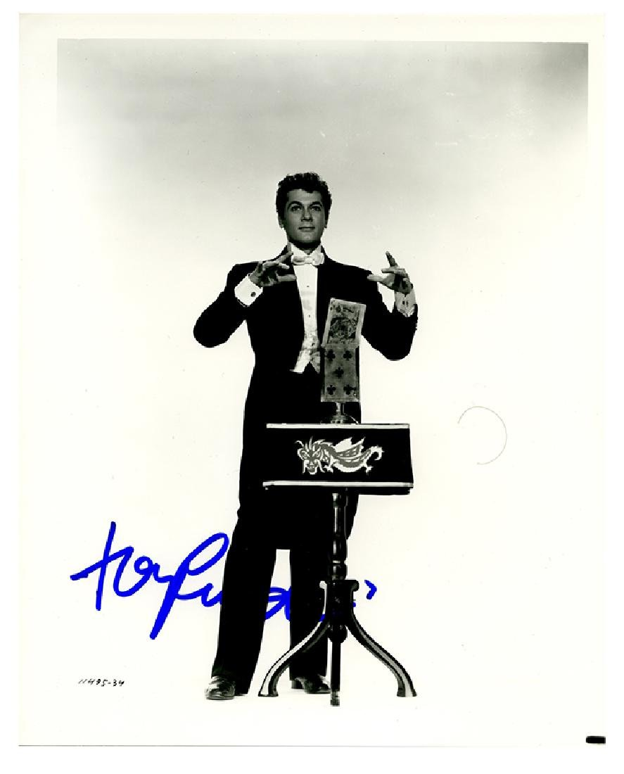 Two signed photographs of Tony Curtis as Houdini.
