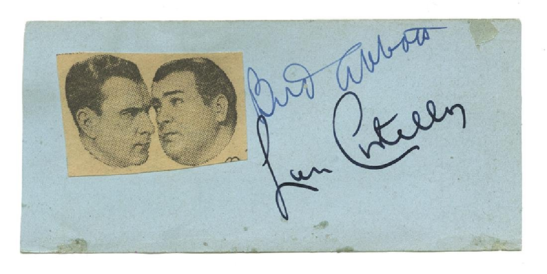 Bud Abbott and Lou Costello Autographs.