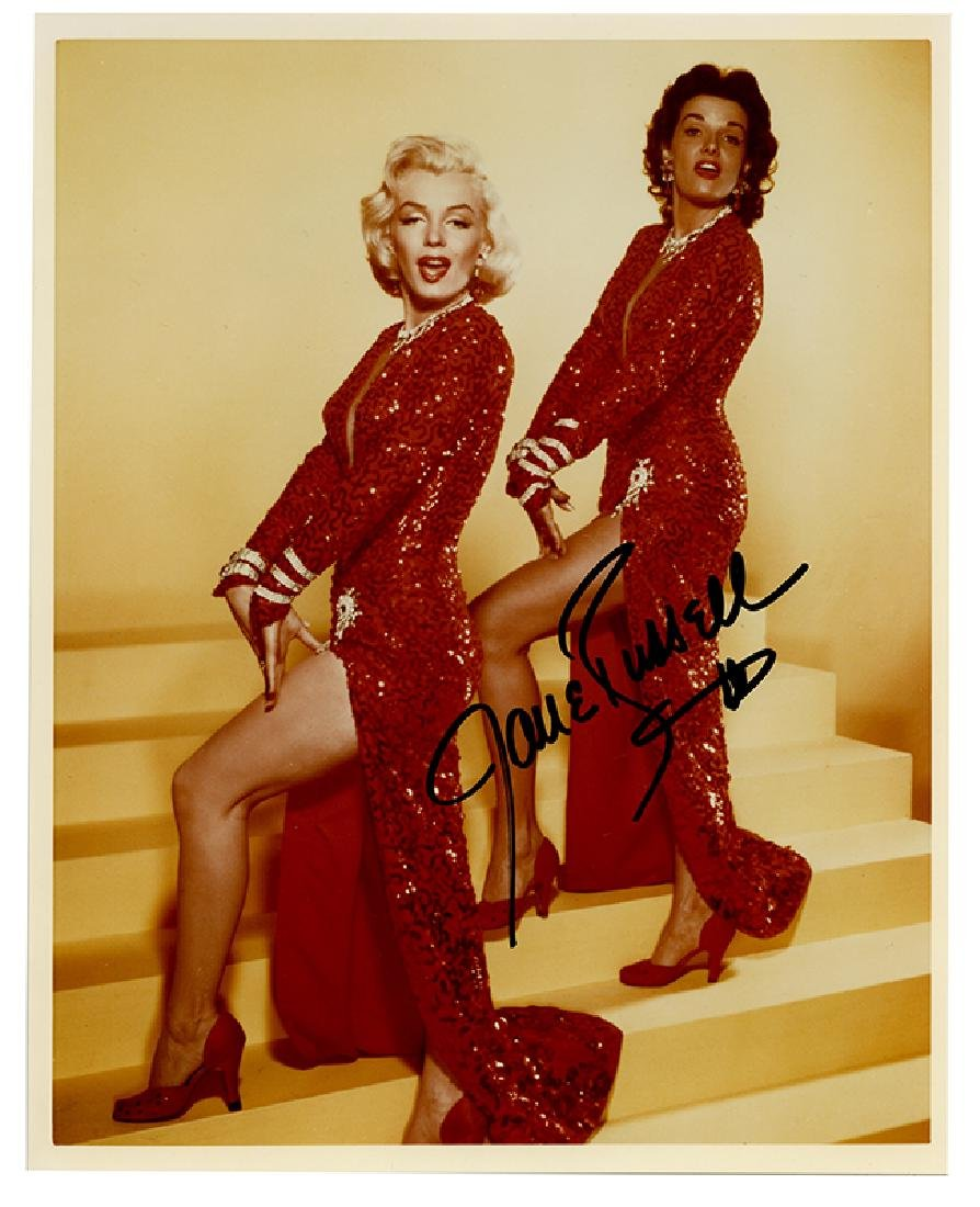 Jane Russell Autographed photo with Marilyn Monroe.