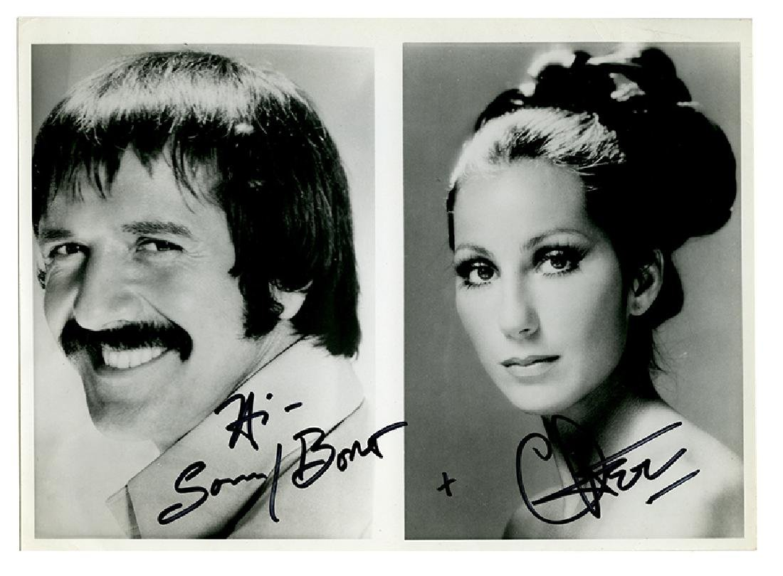 Sonny and Cher Glossy signed composite photograph.