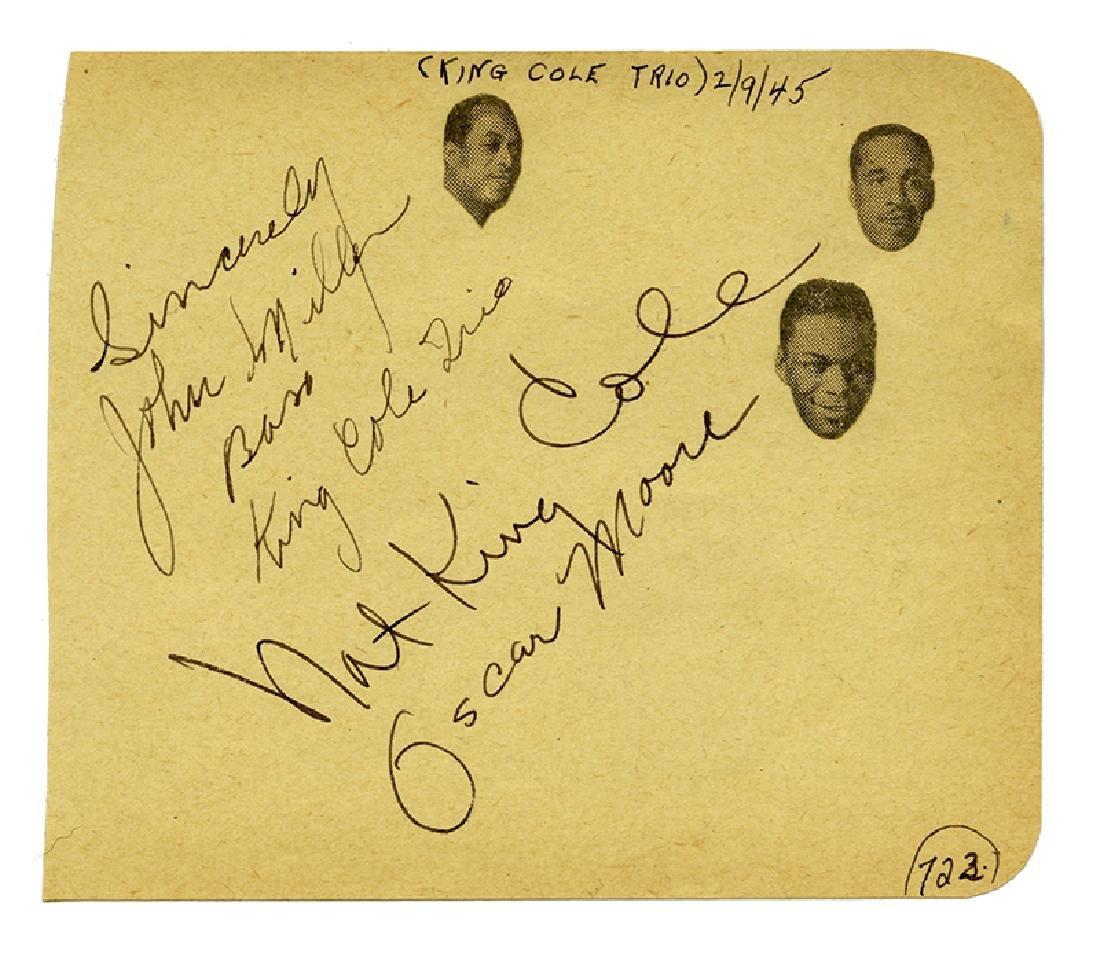 Nat King Cole Trio signed album page.