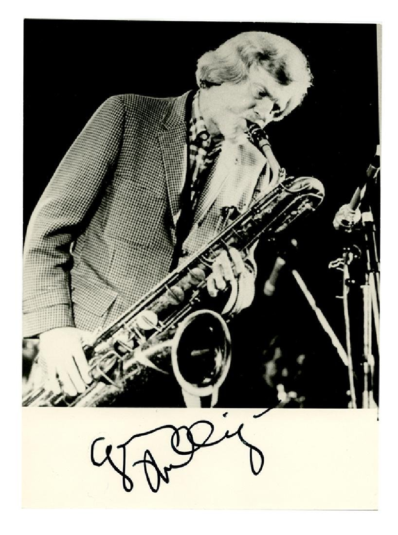 Signed photograph of Gerry Mulligan.