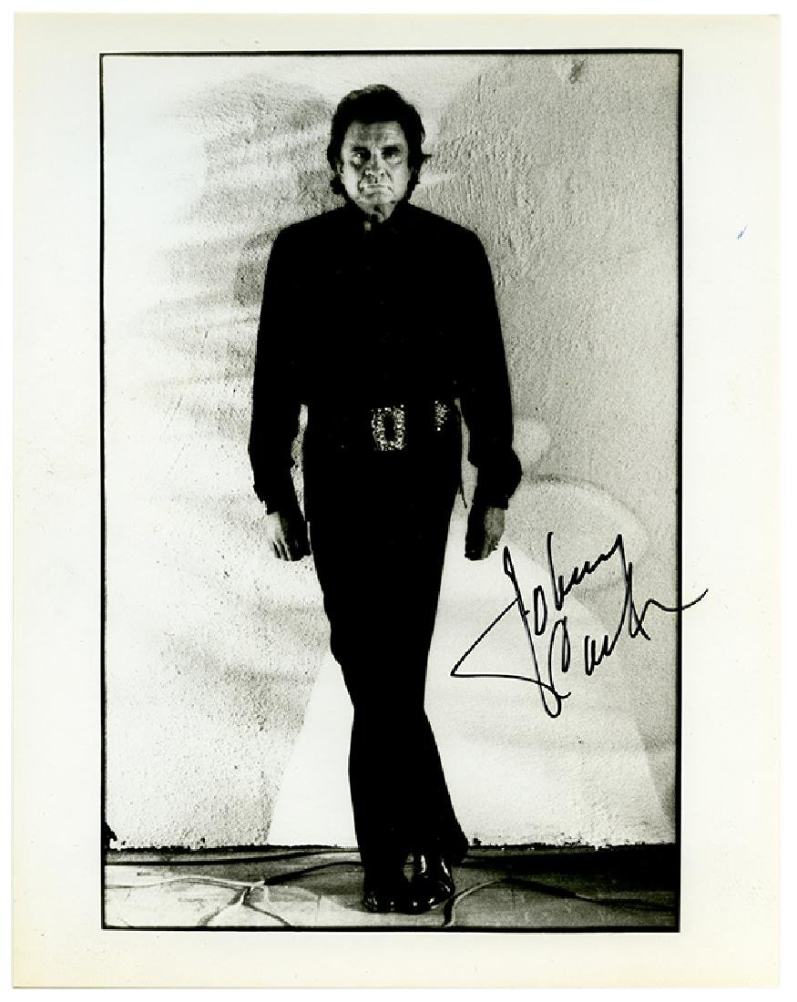 Signed photograph of Johnny Cash.