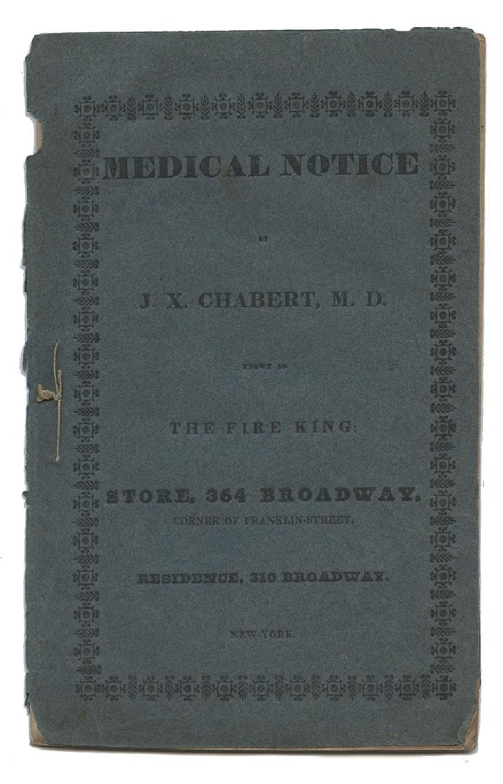 Medical Notice by J.X. Chabert, Known as The Fire King.