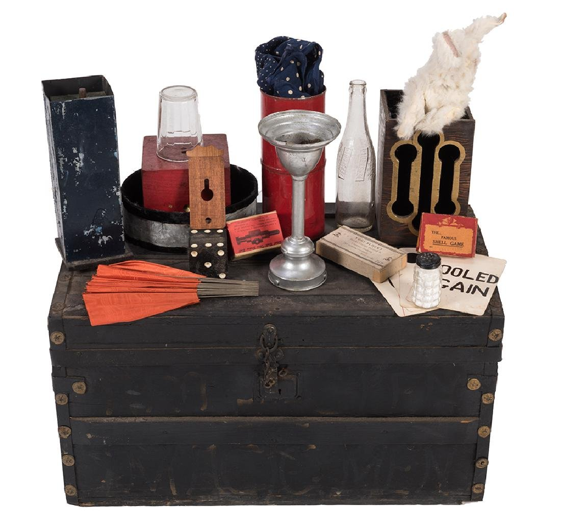 Magician's Trunk Filled With Stage and Parlor Props and