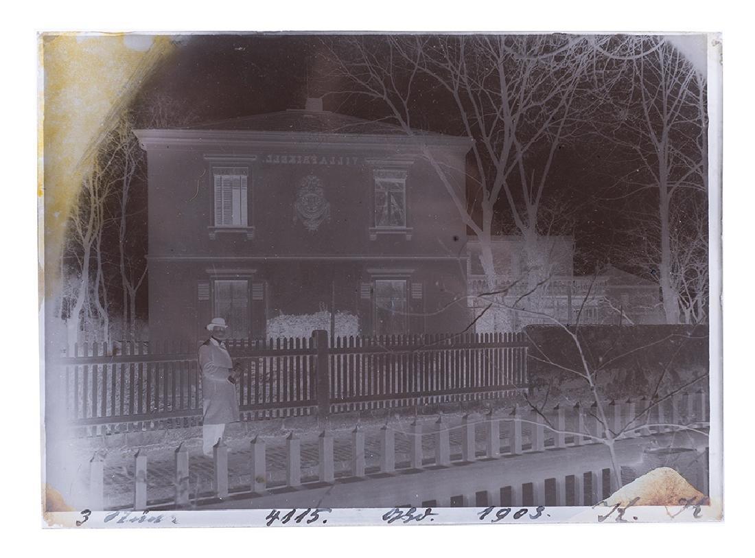 Glass Negative of Houdini Outside Villa (Wiljalba)
