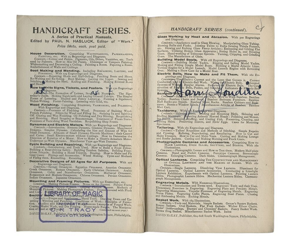 Knotting & Splicing Ropes, Signed by Harry Houdini.