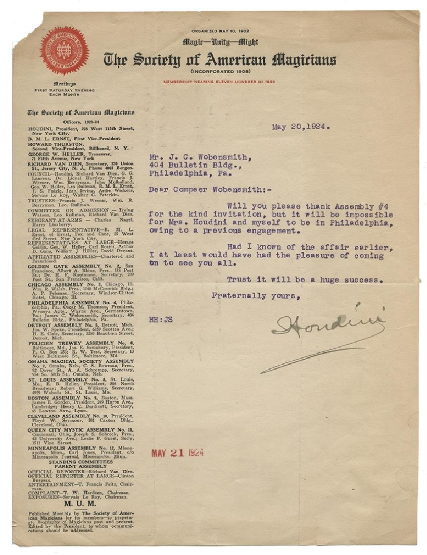Typed Letter Signed by Houdini.