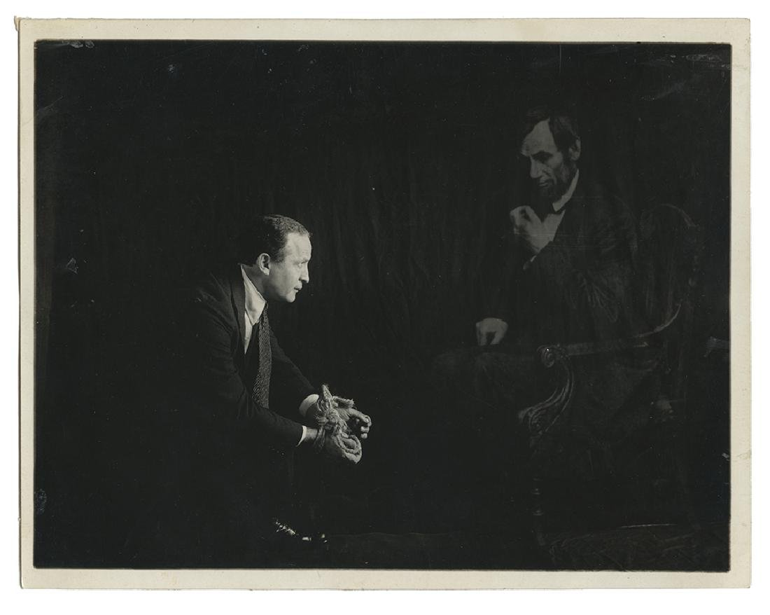 Spirit Photo of Houdini with Abraham Lincoln's Ghost.