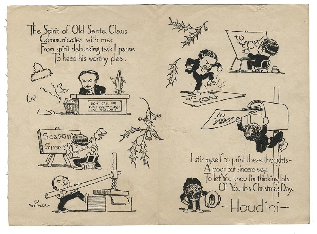 Houdini Cartoon Christmas Card.