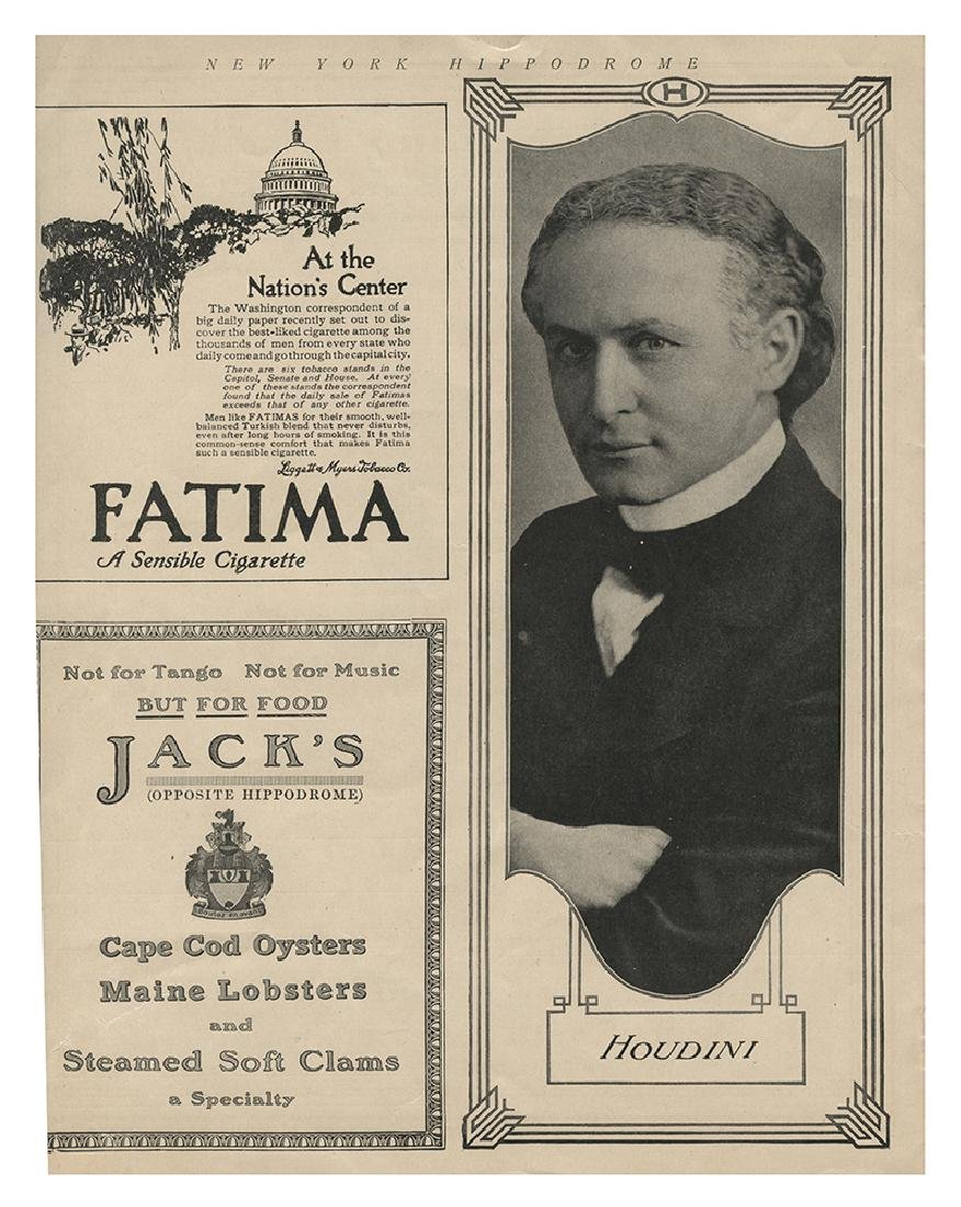Houdini New York Hippodrome Program.