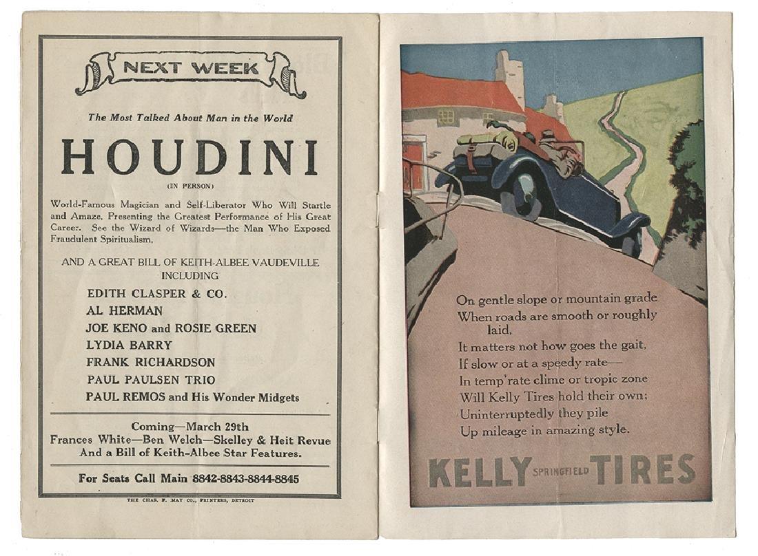 Houdini Detroit Temple Theatre Program.