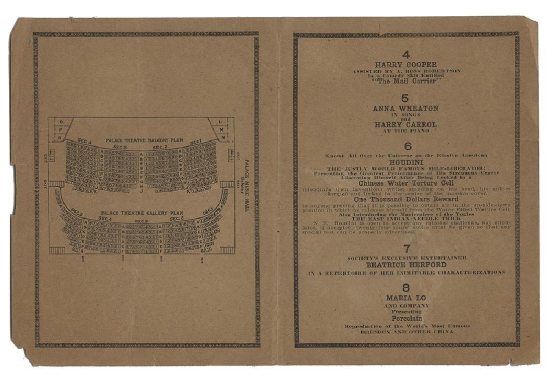 Houdini Palace Music Hall Program.