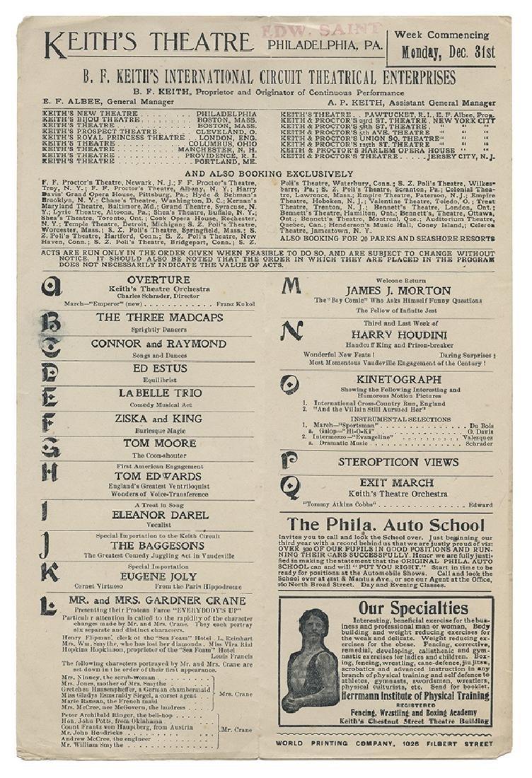 Houdini Keith's Theatre Program.
