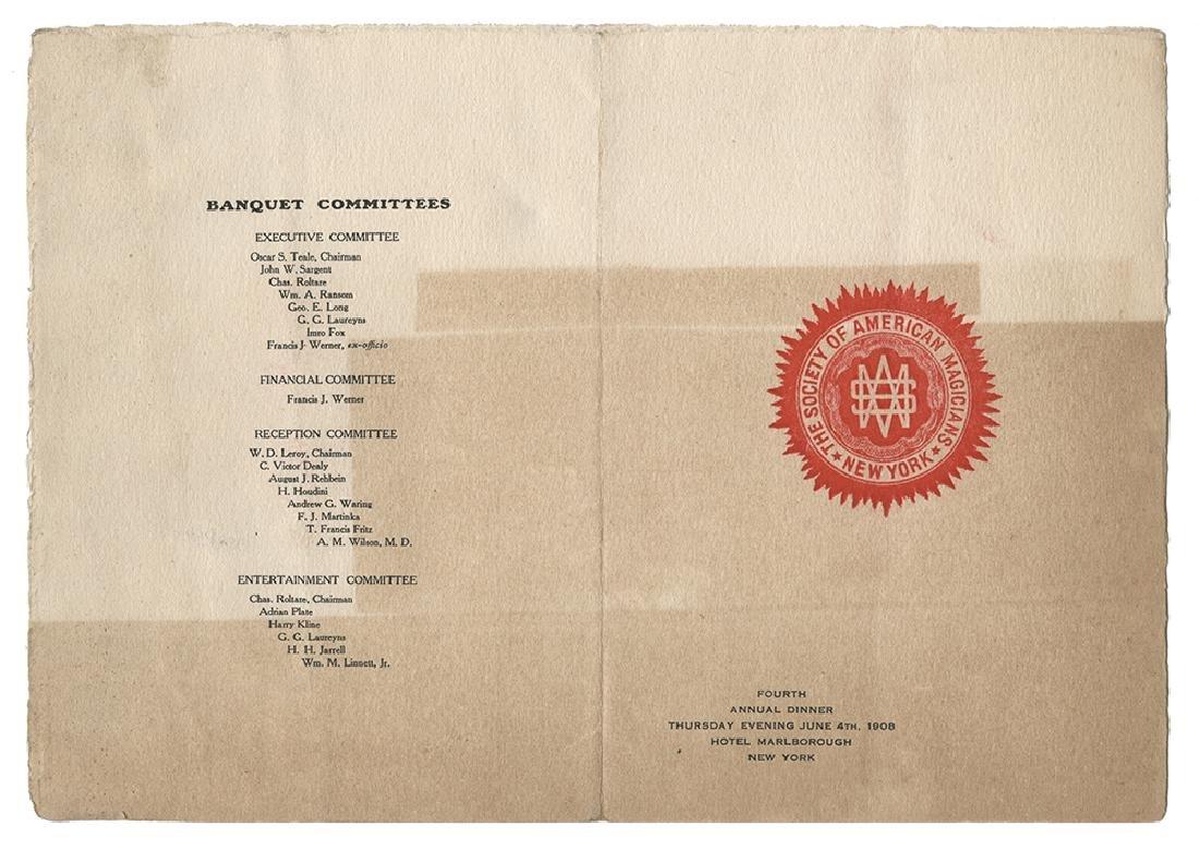 S.A.M. 1908 Banquet Menu.
