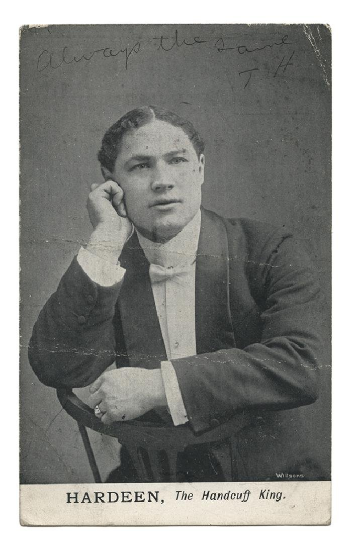 Portrait Postcard of Hardeen, Inscribed.