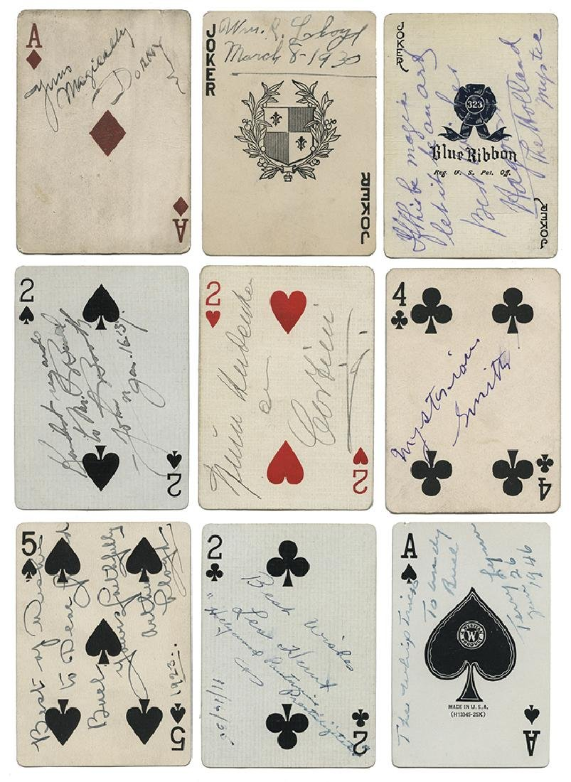 Collection of 17 Magicians' Autographed Playing Cards.