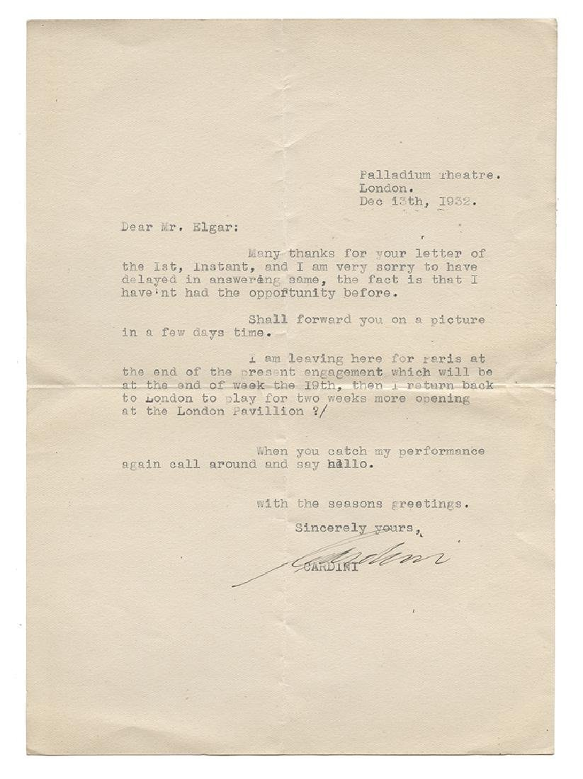 Cardini Typed Letter Signed to Eric Elgar.