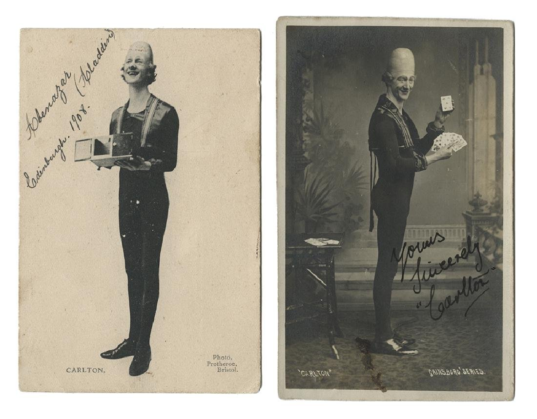 Two Signed Carlton the Magician Postcards.