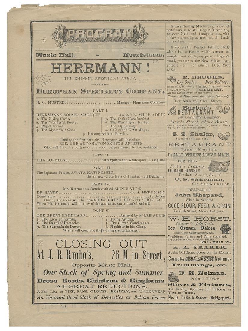 Alexander Herrmann Conjuring Program.