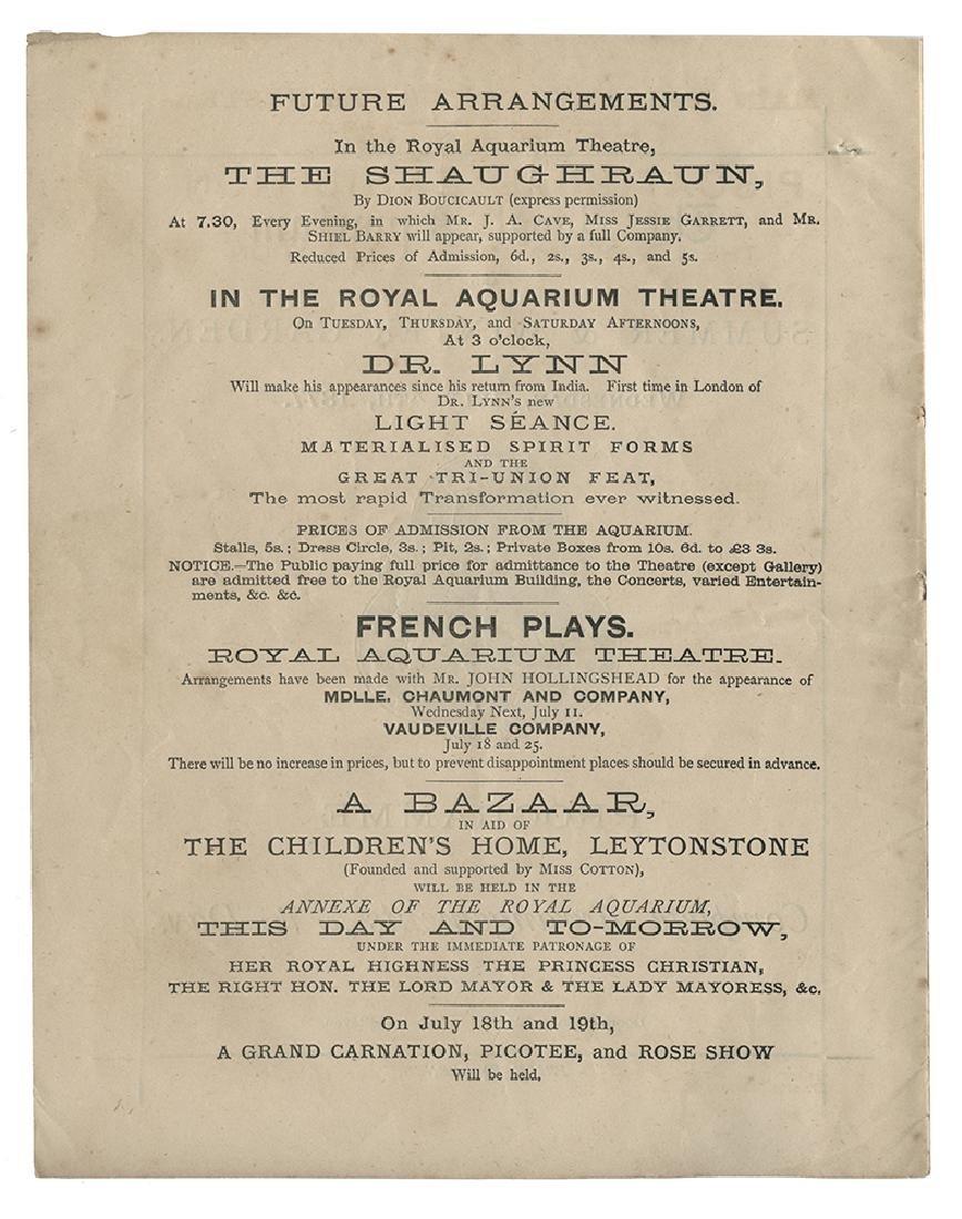 Program of the Royal Aquarium Featuring Magician Dr.