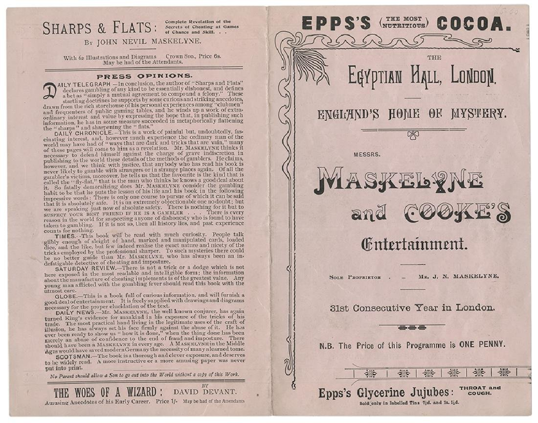 Maskelyne & Cooke Egyptian Hall Program.
