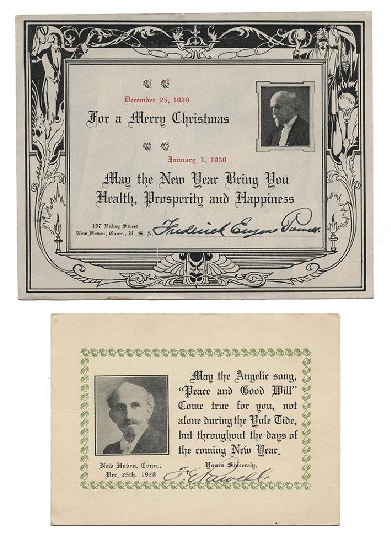 Pair of Signed Christmas Cards from Magician F.E.