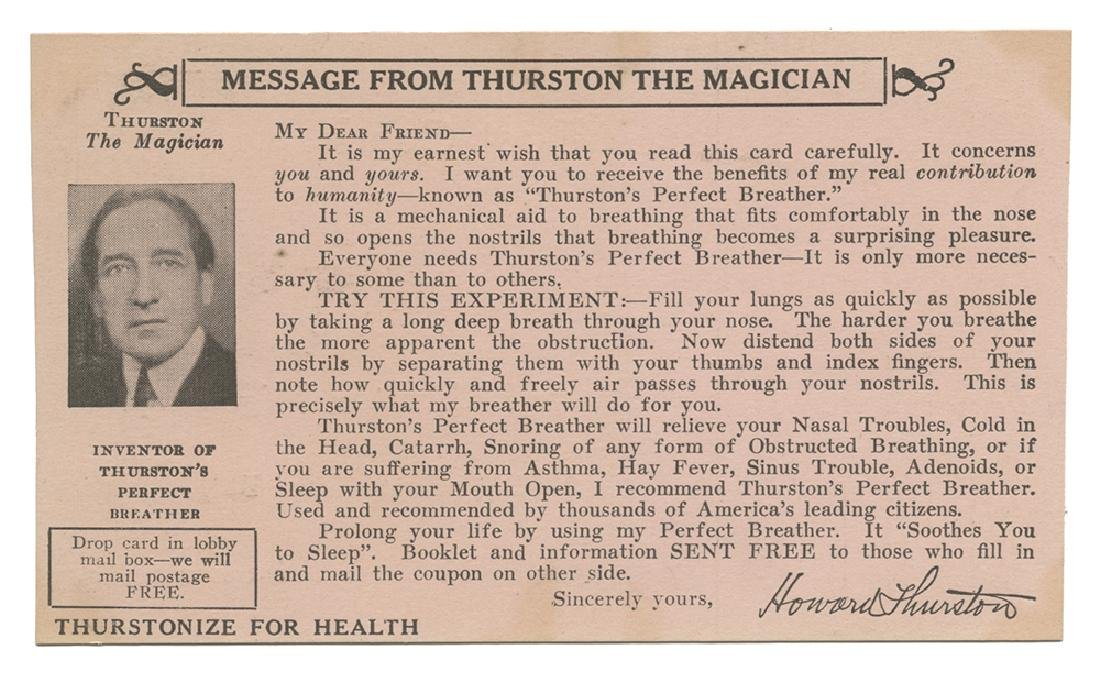 Howard Thurston 'Perfect Breather' Postcard.