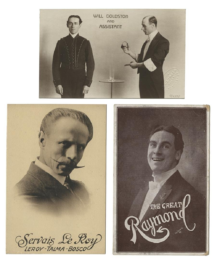 Collection of Seventeen Postcards Featuring Magicians.