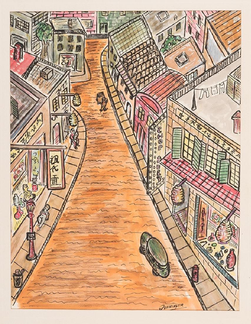 Street Scene Painting by Joseph Dunninger.