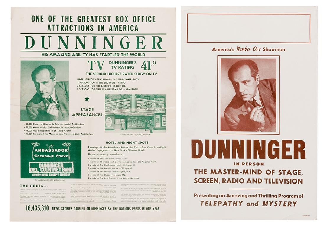 A Joseph Dunninger Poster and Window Card.