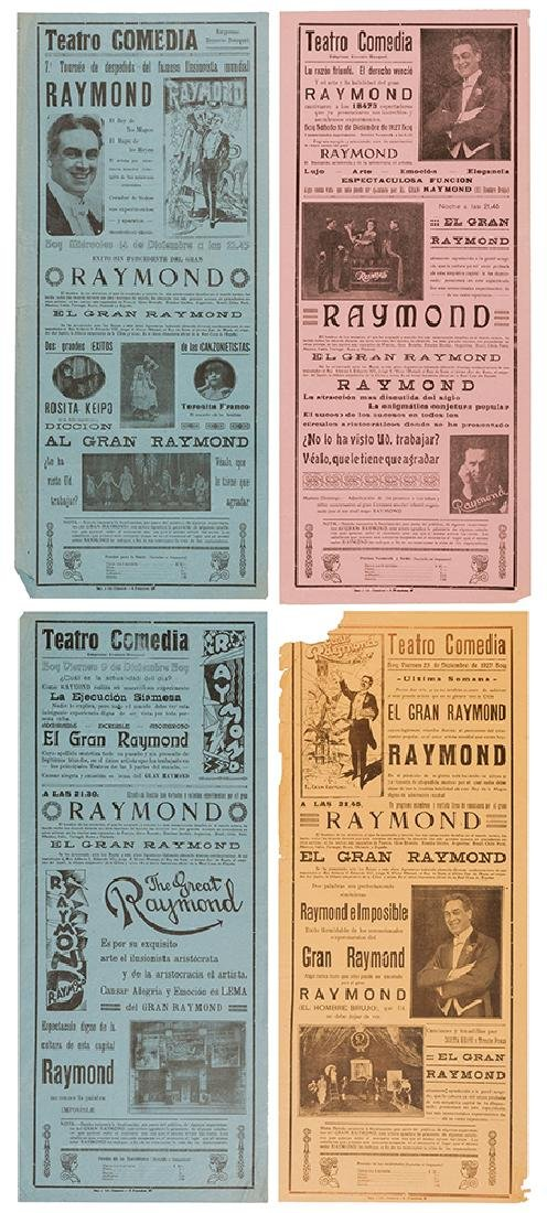 The Great Raymond. Four 1920s Broadsides.