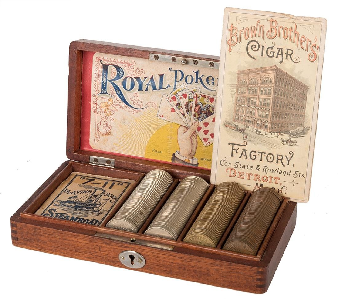 Royal Poker Set & Deck of Russell 7-11 Steamboat