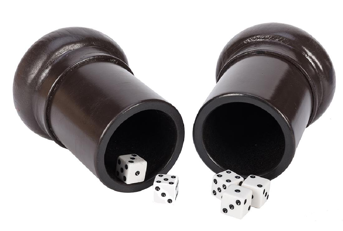 """Pair of Gaffed Leather """"Butterfly"""" Dice Cups."""