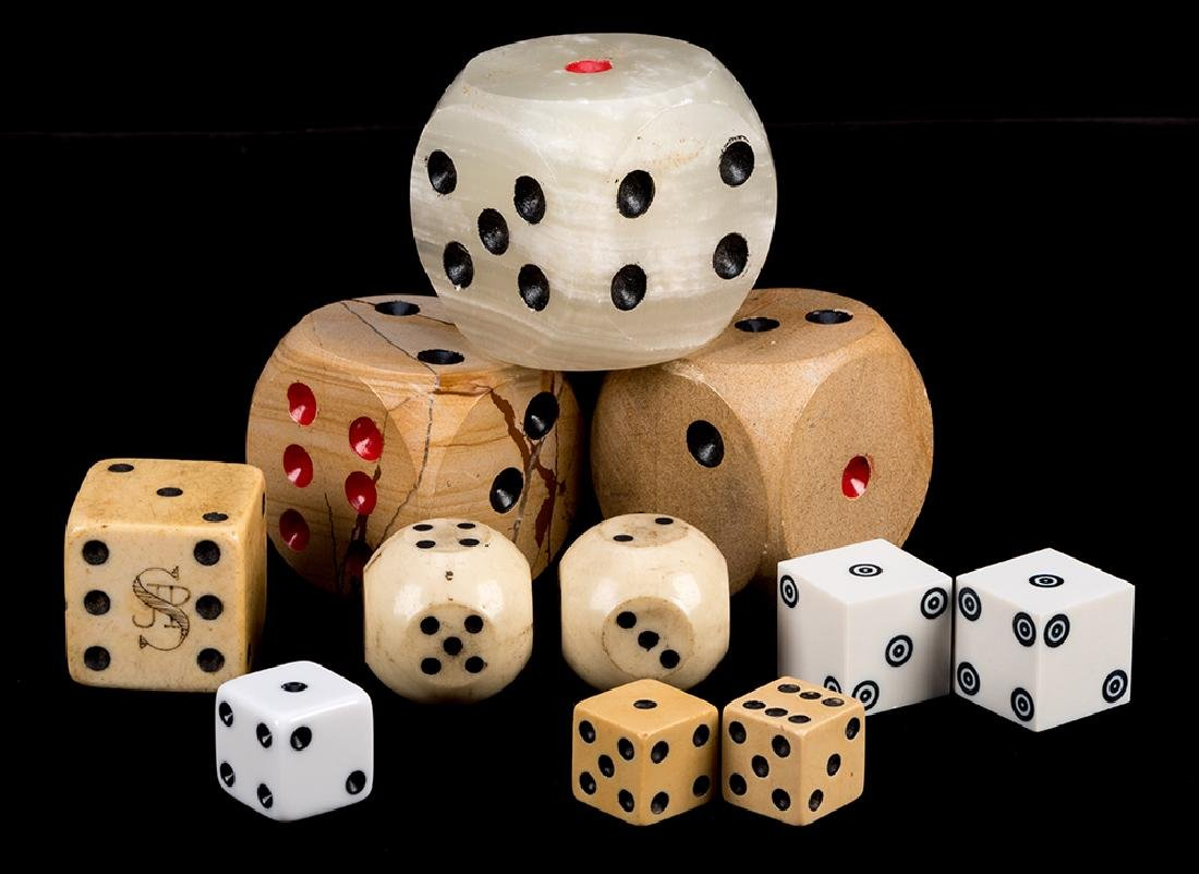 Four Pairs of Miscellaneous Dice and Three