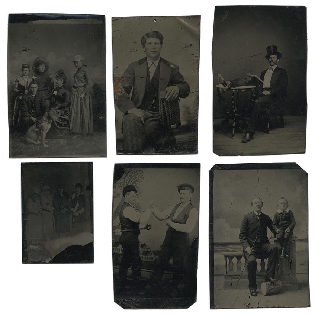 Nine Western Tintype Photographs.