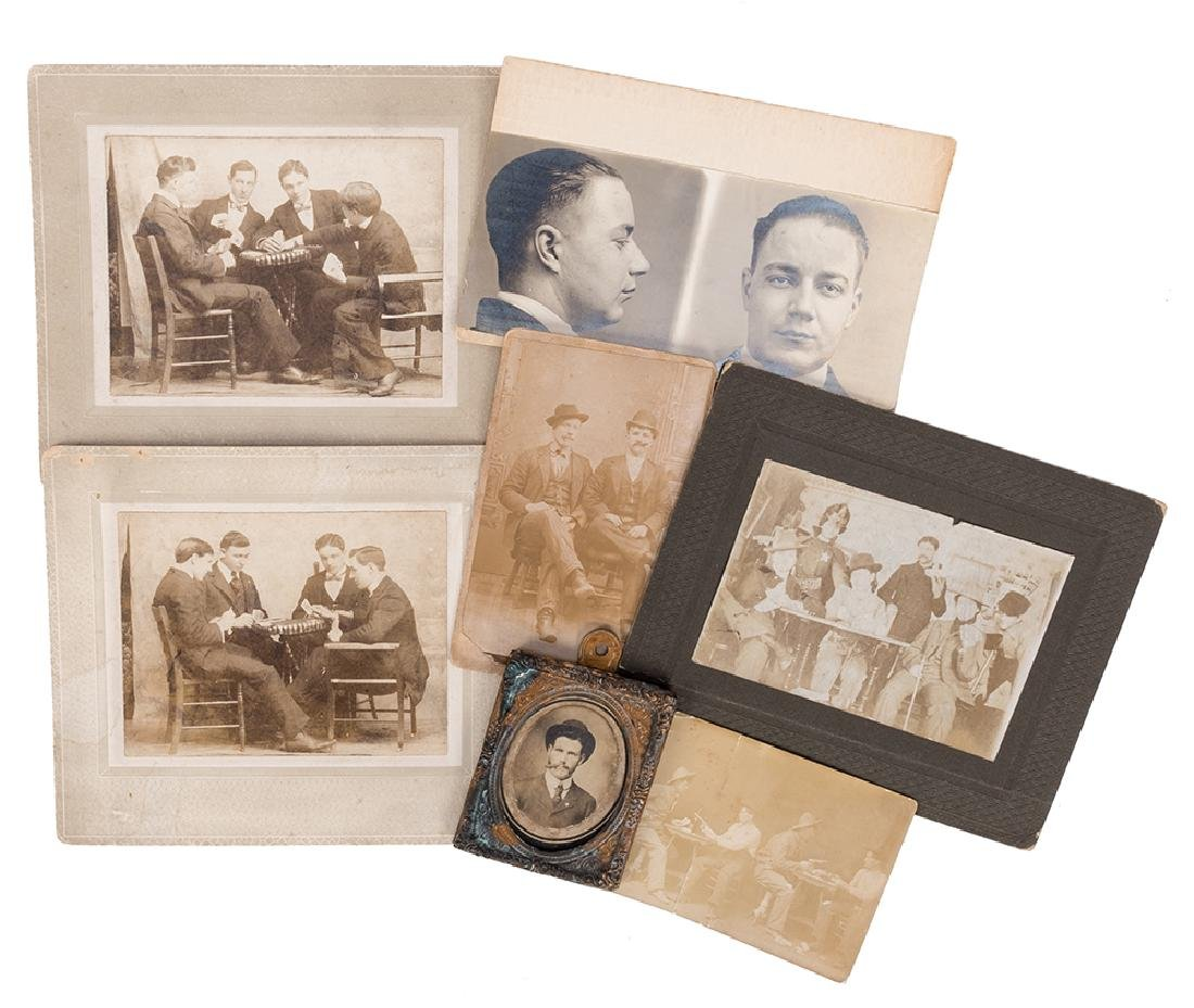 Seven Vintage Playing Card-Related Photographs.