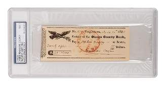 James Fenimore Cooper Signed Check.