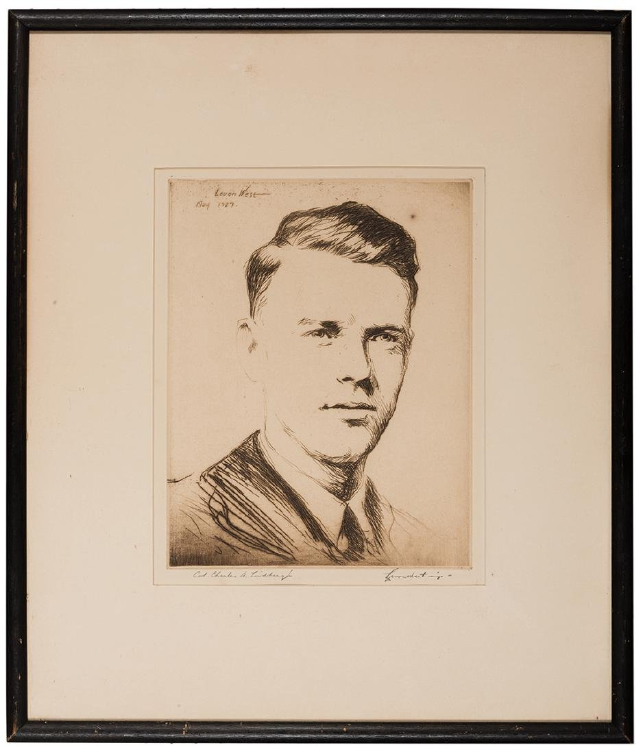 Portrait Etching of Charles Lindbergh Signed.