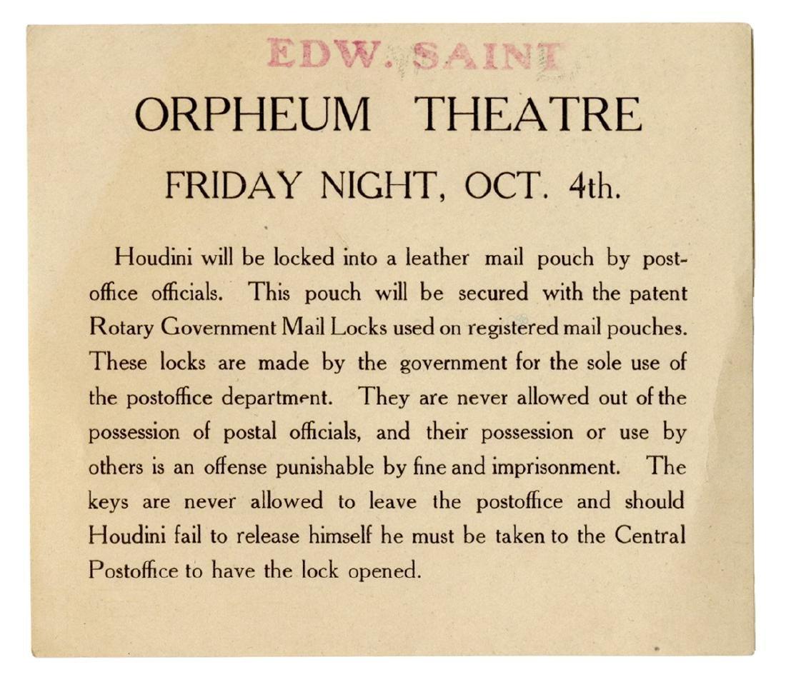 Houdini Mailbag Escape Handbill.
