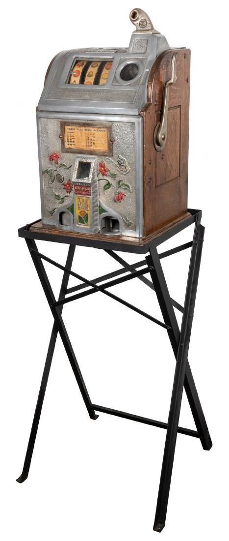 Jennings Butterfly 10 Cent Slot Machine with Stand.