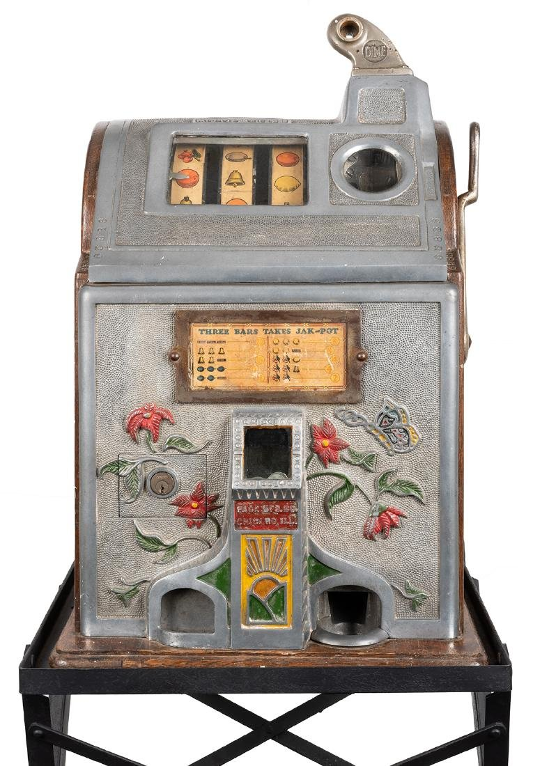 Jennings Butterfly 10 Cent Slot Machine with Stand. - 2