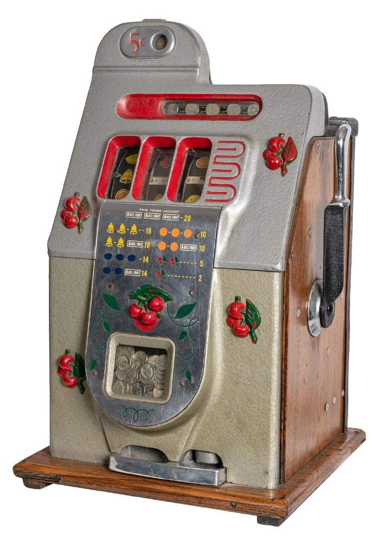 Mills 5 Cent Cherry Front Slot Machine.